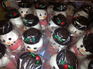 Close up of the cute Snowman cake pops
