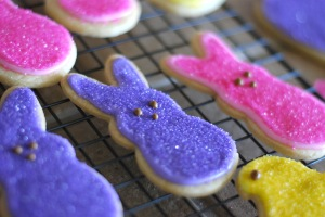 Peeps!  Be sure to put the sugar on very soon after icing so it sticks but not too soon that it sinks.