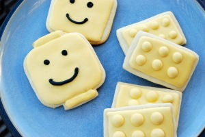 I was too tired to make different colored lego cookies.  Good thing yellow is my son's favorite color.